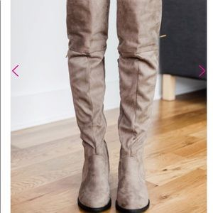 New in box! Qupid taupe suede over the knee boots
